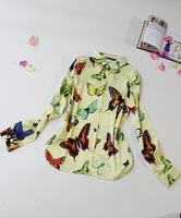 H&Q 2014 new runway autumn fashion sweet vintage brand butterfly print yellow color long sleeve plus size blouse shirt S,M,L