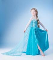 1 pieces retail 2014 new frozen dress, Frozen cloak gauze dress, 100% cotton long sleeve cake dress. Children's dress.