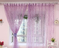 rustic green leaves curtain yarn print tulle organza for living room ready made sheer free shipping