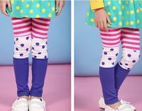 2014Girls Cute Princess Party Rainbow Multicolour capris Striped dot pants 5 pieces/lot