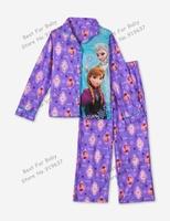 Retail Frozen Kids Pajama Set Elsa Anna Princess Clothing Sets Long Sleeve Clothing Snow Queen Nightie/Pyjamas