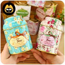 Teapot Hot Sale Promotion Freeshipping Multi No Metal Tea Pot Coffee Cup 2014 Exquisite Floral Retro Storage Box / Tea Caddy Tin