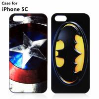 Sale New Phone Cases For Apple iPhone 5C Case Superman Batman Captain American Mobile Phone Case Hard Back Cover Housing Fashion