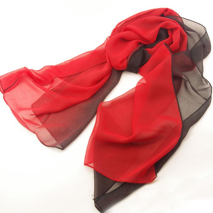 Nice Chiffon Scarf Women High Quality Gradual colors chiffon georgette Red silk scarves shawl female long design Free Shipping(China (Mainland))