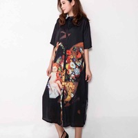 Free shipping!2014 NEW summer fashion vintage flower print short-sleeve turn-down collar shirt loose dress plus size designer