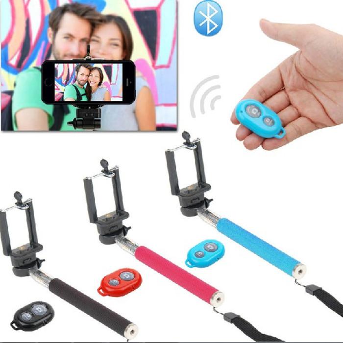 3 dans 1 téléphone mobile extensible. monopode selfprotrait holder+ caméra sans fil bluetooth auto- minuterie déclencheur à distance contrôleur