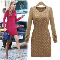 European American Sweater Dress Brief Long Sleeve Knitting Cotton Vestido Vintage Slim Waist Body Winter Dress Female C558