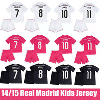 14 15 JAMES Rodriguez Real Madrid Kids Soccer Jersey Cristiano Ronaldo Real Madrid Children Away Black Dragon 2015 Pink Uniform
