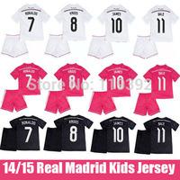 14 15 JAMES Rodriguez Real Madrid Kids Soccer Jersey Cristiano Ronaldo Real Madrid Children Away Black Dragon 2015 Pink Uniform