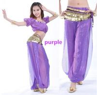 Belly Dance Costume 2pcs Lantern Blouse Top + Pants Bloomers Trousers 13 Colors (No Belt)