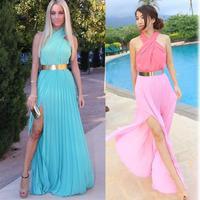 2014 NEW ARRVIAL HOT Fashion Blue Criss Cross Chiffon Dress Color Maxi Dress Side Split Long Desigual Halter  Casual Maxi Dress