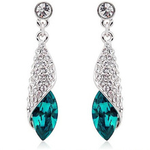 100% Sterling Silver Jewelry Female Conch Blue Earrings Sterling Silver Earrings Top Quality!!(China (Mainland))