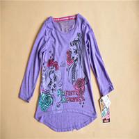 Monster.high Clothing 100% Brand New Monster.High T Shirt Full Sleeve Kids Girls Monster High Summer Tshirts Free Shipping DA359
