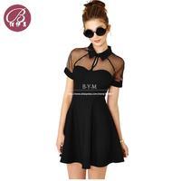 European And America Women's Slim Sexy Dress Lady Summer 2014 Hollow Lapel Stitching Raglan Sleeve Chiffon Dress