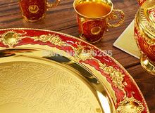 12 plate yellow gold red color metal wine set tea set fashion zinc alloy wine set
