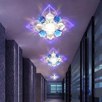 5W modern led ceiling lights for living room crystal led lamp led hallway Lighting AC200-240V brown lampshade abajur