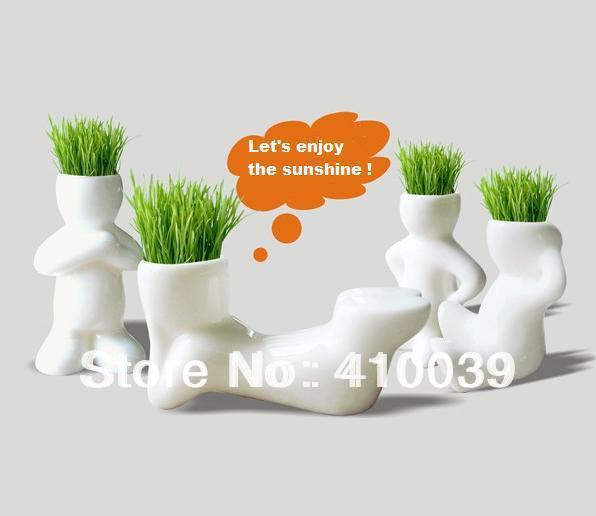 New 2014 4PCS/set DIY REAL Grass Planting Mini Little Table Vase Hair Man Plant Vases Jardiniere Good Gift Home Decor Decoration(China (Mainland))