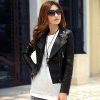 2014 women's motorcycle punk slim PU leather jacket women female outerwear long-sleeve turn-down collar spring