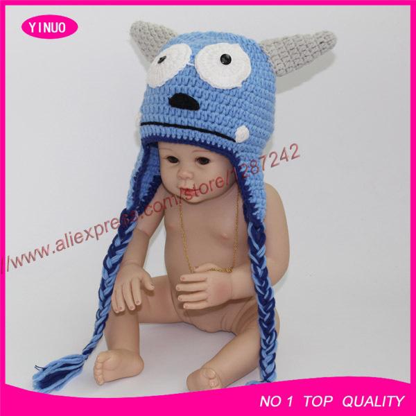 2014 New Style unisex milk cotton monster baby photography props handmade crochet animal hats for sale newborn hat(China (Mainland))