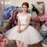 Sequined straps lace wedding dress new 2014 drill short wedding dresses china free shipping short sleeves vestido de noiva