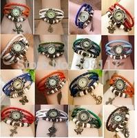 DHL free shipping to USA 60pcs/lot Retro vintage leather woman quartz wrist watch 2014 montre femme  Reloj