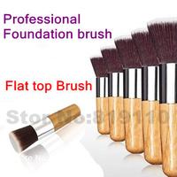1 pcs Bamboo hand Flat makeup Brushes Professional Kabuki brushes liquid Foundation blending make up brush Cosmetic Base tool