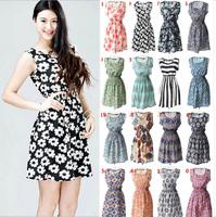 19 Styles Hot Sale Trend Printed Chiffon Tank Dresses For Women 2015 Summer New Fashion Sleeveless Short Dress Size S-XXL