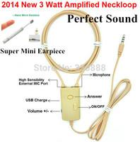 2014 New 3Watt Powerful 40-50cm neckloop  necklace mini earpiece micro earpiece