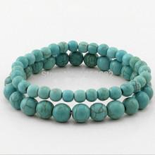 Vintage Tibetan style Turquoise Bracelets Turquoise Beads Bangle 2 PCS Natural stone Bracelets Gift MB06(China (Mainland))