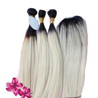 Ombre Two Tone #1bT613 2pcs Hair Bundles With 1 pc Lace Closure Virgin Unprocessed Silk Straight Brazilian Hair