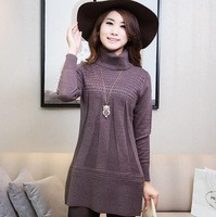 2014 autumn winter women's clothes long style pullover sweater dress loose large size slim cashmere knit cardigan primer shirt