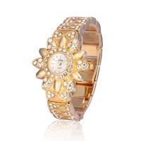 New Arrival Sunflower Style Dial Women Ladies Girls Crystal Bracelet Diamond Analog Quartz Gift Wrist Watches, 2 Colors Select