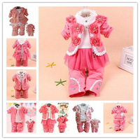 new 2014 newborn Baby girl clothing,Cute bow lace suit coat+shirt+pants 3pcs baby girls clothing set,multi style conjuntos cloth