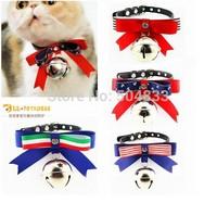 Nice bow cat pu collar kitty kitten festival bowtie collars with bells XS S