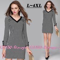 L-4XL Brand Elegant V-neck Long Sleeve Plover Plaid Print Dresses 2014 New Autumn Fashion Plus Size Women Clothing 3285