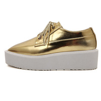 Women's Creepers Flats Autumn 2014 New Fashion Brand Punk Metallic Leather Square Toe Thick Platform Flats Shoes Silver/Gold