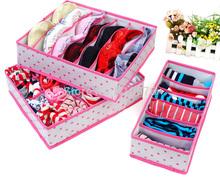 3Pcs In Set Rose Pink Dot Non-woven Design Home Folding Storage Box For Underwear Sock Bra Ties Organizer Case(China (Mainland))
