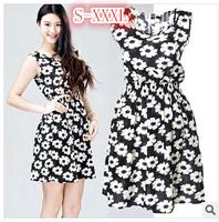 2014 Women Desigual Summer Dress Print Dress Flower Chiffon Dress Summer Sundress Mini Plus Size Dresses Free Shipping W00221
