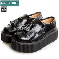 EU34~40 New arrival 2014 Fashion Branded shoes Women Slip-on Tassels Design Autumn Winter Punk Creepers Platform Shoes