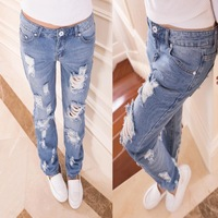 New 2014 Fashion Hole Women Jeans American Apparel Jeans Boyfriend Jeans for Women Blue Classic Pencil Pants Jeans
