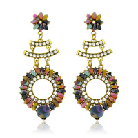 ER-013363 Sunflower Environmental Friendly Alloy Long Drop Earrings In Jewelry