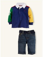 New, retails ,Free Shipping, baby clothes set,  long sleeve coat+pants,  2colors, 1set/lot
