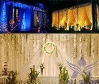 3Mx3M 400 LED Outdoor Decoration Christmas Wedding String Fairy Curtain Light With Tail Plug EU/220V Warm White Luminaria T1198