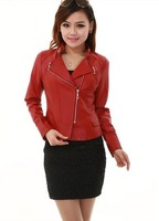 Leather coat spring women 2014 autumn leather clothing female short slim leather jacket white motorcycle leather jacket