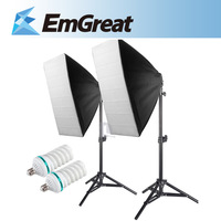 New 2pcs E27 150W Photography Lighting Kit 2pcs 50x70cm Softbox+2pcs Light Holder Stand Photo Studio Equipment Set P0015153