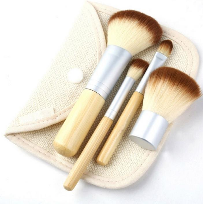 2014 Hot Sale 4 Pcs Earth-Friendly Bamboo Elaborate Makeup Brush Sets Cosmetic Brushes Tool Set Promotional discounts Wholesale(China (Mainland))
