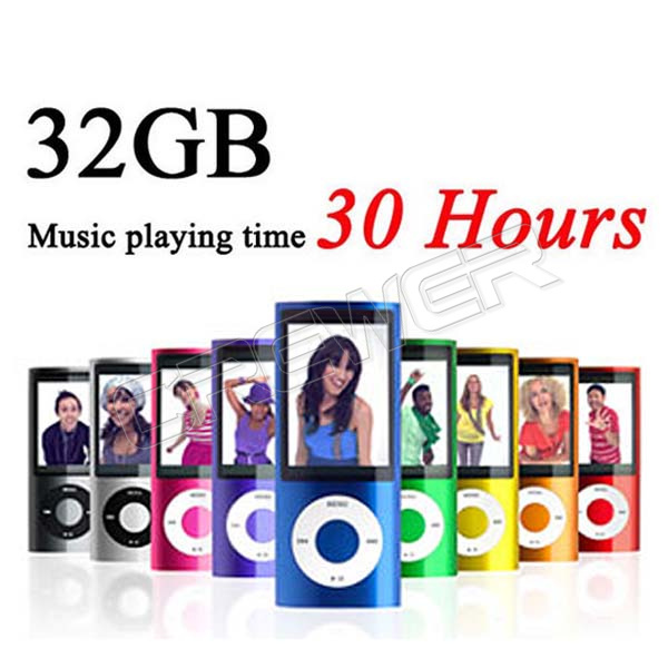 Music playing time 30Hours Slim 1.8' 4th gen 32GB 9 Colors mp3 player music player fm radio ebook video player free ship(China (Mainland))