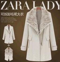 2014 winter desigual coat Vest +Coat Europe new collars warm thickening British wind long wool coat  Women's trench outerwear
