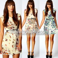 Fashion Sundress Floral Butterfly Print Party Summer Skater Swing Mini Dress