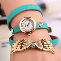 Angel Wings Three Layers Retro Bracelet Wristwatches Korean Fashion Women Dress Watch 8 Colors Seclet